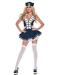 Hot Uniforme Sailor Girl Blue Navy Poliéster