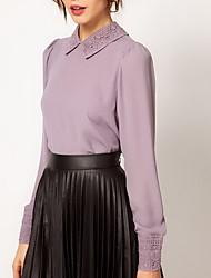 Womens Vintage Pattern Retour Boutons Blouses mousseline de soie shirts