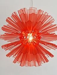 UMEI™  Acrylic Pendant, 1 Light, Red Acrylic Iron Plating