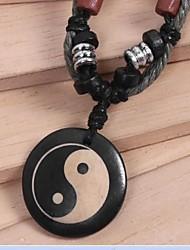 vintage (osso de boi) tecido preto colar (preto) (1 pc) jóias