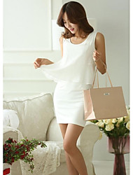 Women's Korean  Fake Two Mini Chiffon Dress