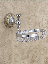Contemporary Style Chrome FinishWall Mounted Brass Soap Basket