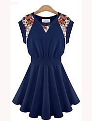 Women's Going out Sexy Dress,Floral Above Knee Sleeveless Blue / White Cotton Summer