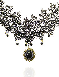Omuto New Hollow-Out Lace Water Drop Pearl Necklace (Black)