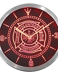 nc0424 Firefighter Volunteer Fire Department cerveza muestra de neón del LED Reloj de Pared
