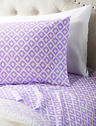 "Sheet Set ,4-Piece microfibra Plaid rosa con 12 ""Pocket Profondità"