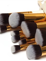 10pcs Makeup Brushes set Professional White/Black Blush brush Shadow/Eyeliner/Lip/Brow/Lashes Brush Gold Tube With Free Draw String Makeup Bag