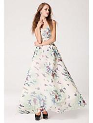 Women's Beach Plus Size / Sexy Dress,Floral Maxi Sleeveless Summer
