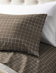 "Sheet Set,4-Piece Microfiber Plaid Brown with 12"" Pocket Depth"