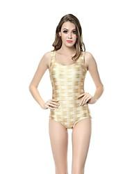 Mulher O pescoço de malha de impressão malha One Piece Swimsuit