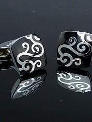 xinclubna® moda plaza hombre de plata negro estampado de flores de la mancuerna de los hombres (1 par)