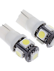 Ampoule T10 1.5W 5 LED 120LM 6000K blanc froid lumière LED pour voiture (12V, 2pcs)