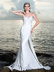 Sheath/Column Wedding Dress - Ivory Sweep/Brush Train Off-the-shoulder Satin/Lace