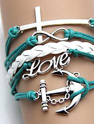 Запад старинные ювелирные изделия Браслет Якоря Крест Любовь ручной тканые браслет (Опционные цветы)