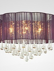 Moderne plafond lampe en cristal 6 lumières avec la fleur pourpre Abat-jour