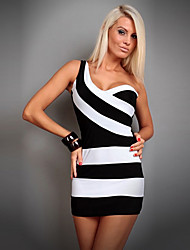 Qnei&A Fashion Night Club Style Backless Stripe Bodycon Dress