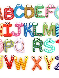 Funny Magnetic Alphabet 26 Letters Wooden Fridge Magnets Educational Kids Toy (26-Pack)
