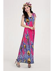 V cuello largo vestido de mujer Shangmei Bohemia (patrón aleatorio)