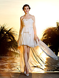 A-line Plus Sizes Wedding Dress - Ivory Asymmetrical Strapless Georgette