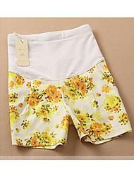 Verde / amarelo floral impresso grávida Shorts Culottes Estilo Maternidade barriga calças curtas