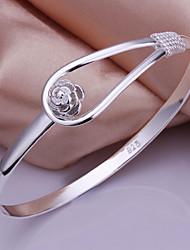 Flower Women's Korean-style High Quality Fashion Silver Bangles