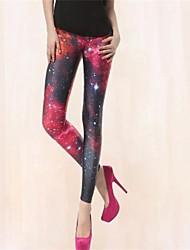 PinkQueen Women's Spandex Red And Black Cross Leg Leggings