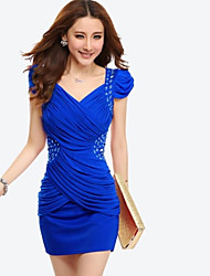 Women's V Neck Pleated Waist Puff Sleeve Mini Dress