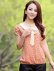 Women's Bow Bow Blouse , Chiffon Short Sleeve
