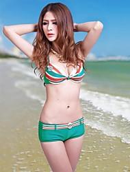 Stile Europeo Large Size da donna a righe Boxer Bikini Adatto a M ~ 3XL