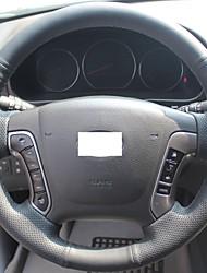 Xuji ™ Preto Genuine cobertura de volante de couro para Hyundai Santa Fe 2006-2012