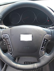 XuJi ™ Black Genuine Leather Steering Wheel Cover for Hyundai Santa Fe 2006-2012