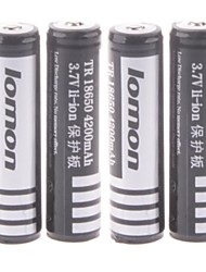 18650 3.7V 4200mAh Rechargeable 18650 Lithium Ion Battery with Protection Board for LED Flashlight (4PCS)