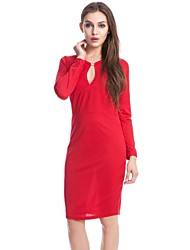 Women's Work Sheath Dress,Solid Deep V Midi Long Sleeve Blue / Red / Black / Green All Seasons