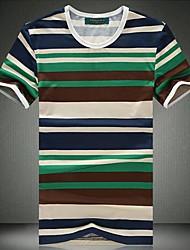 Herren Rundkragen Streifen-T-Shirt mit kurzen Ärmeln