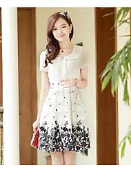 Women's Print White/Black/Yellow Dress , Casual/Plus Sizes Peter Pan Collar Short Sleeve Pleated