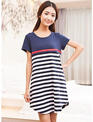 Short Sleeve Stripe Maternity Cotton Dress and Pregnant Women Breast Feeding Clothes
