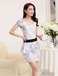 Women's Work Sheath Dress,Print Round Neck Above Knee Short Sleeve Yellow / Purple Polyester / Others All Seasons