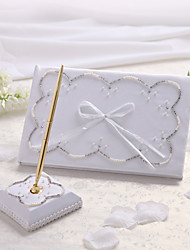 White Wedding Guest Book And Pen Set with Beadings Sign In Book