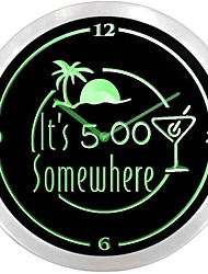 nc0926 Het is 17:00 Ergens Bar Beer Neon Sign LED Wall Clock