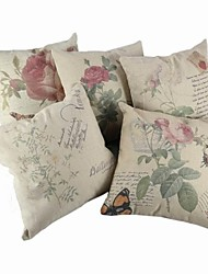 Cotton / Linen Pillow Cover / Pillow With Insert , Floral Casual / Traditional/Classic / Outdoor / Antique / Retro / Accent/Decorative