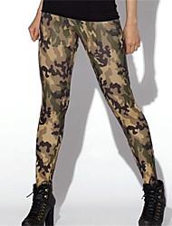 PinkQueen® Women's Spandex Dark Green Camouflage Print Leggings