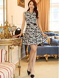 Women's Formal Sexy A Line Dress,Print Round Neck Above Knee Sleeveless Multi-color Spring / Summer / Fall