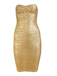 Women's Solid Gold Dress , Sexy/Bodycon Strapless Sleeveless