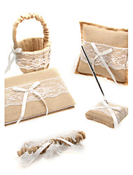5 Collection Set White Guest Book / Flower Basket / Pen Set / Ring Pillow / Garter