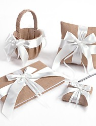White Cross Bow Linge de mariage Set Collection (4 pièces)