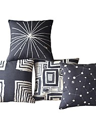 Set di 4 Cover Black & White geometrico cotone / lino e cuscini decorativi