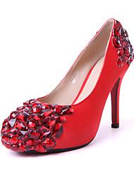 Bom gosto Bombas de cetim vermelha com vermelho tênis imitação do casamento