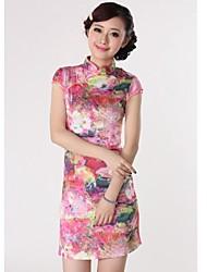 Collare da donna dipinta Fiori rosa vestito cinese