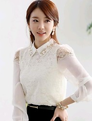 Women's Solid/Lace White Blouse/Shirt , Shirt Collar Long Sleeve Lace