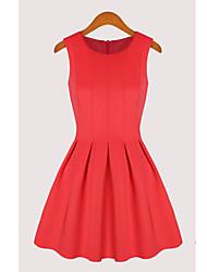 RNX Vestido de algodón sin mangas de color sólido (rojo)